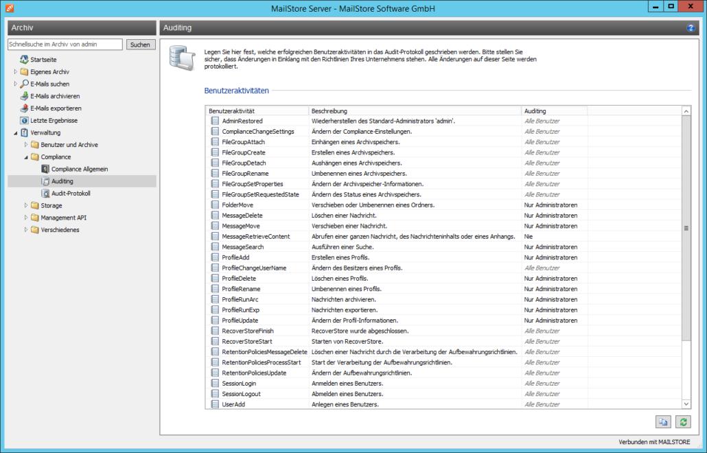 Screenshoot MailStore Auditing Verwaltung
