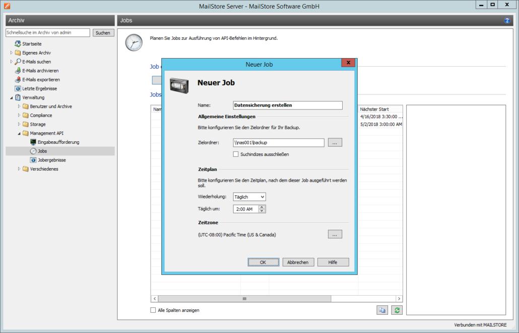 Screenshoot MailStore Backup Verwaltung