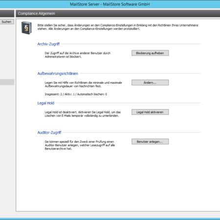 Screenshoot MailStore Compliance Verwaltung