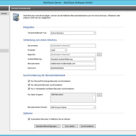Screenshoot MailStore Verzeichnisdienste Verwaltung