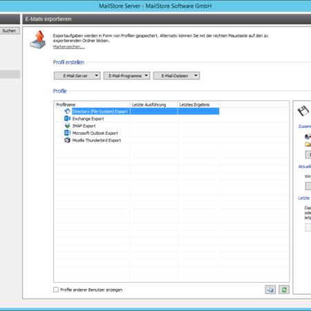 Screenshoot MailStore Export Verwaltung