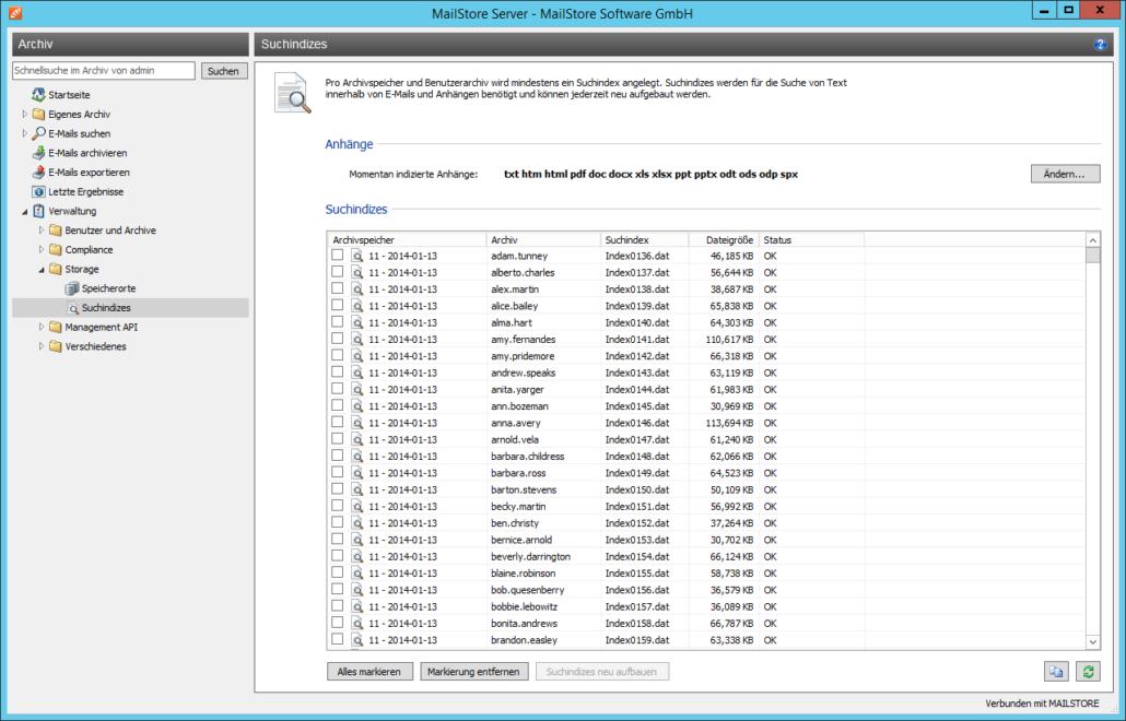 Screenshoot MailStore Inhaltsverzeichnis