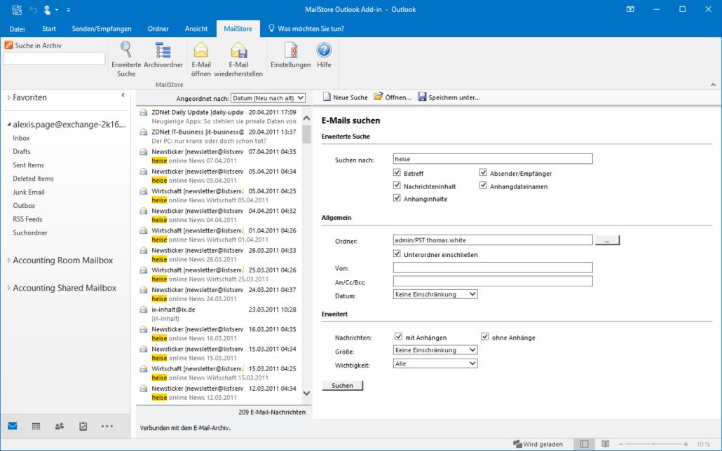 Screenshot MailStore Outlook-Komponenten Suchfunktion