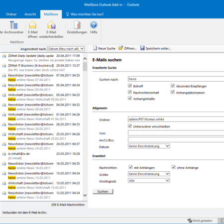 Screenshot MailStore Outlook-Komponenten Suchfunktion
