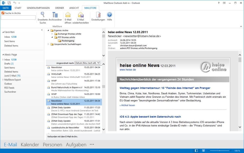 Screenshot MailStore Outlook-Komponente