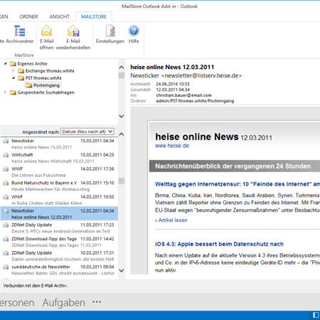 Screenshot MailStore Outlook-Komponente