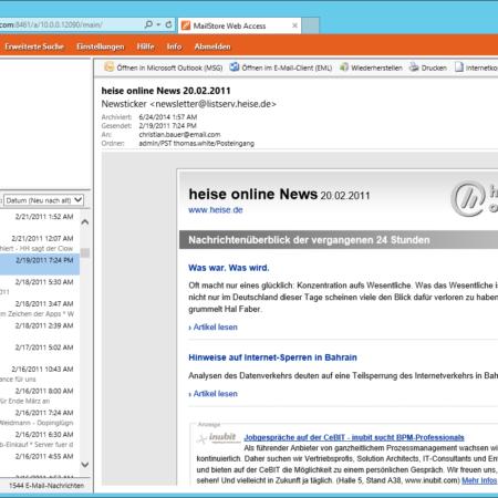 Screenshot MailStore Webzugriffs Webzugriffs Verwaltung