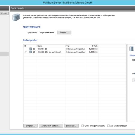 Screenshoot MailStore Speicher Verwaltung